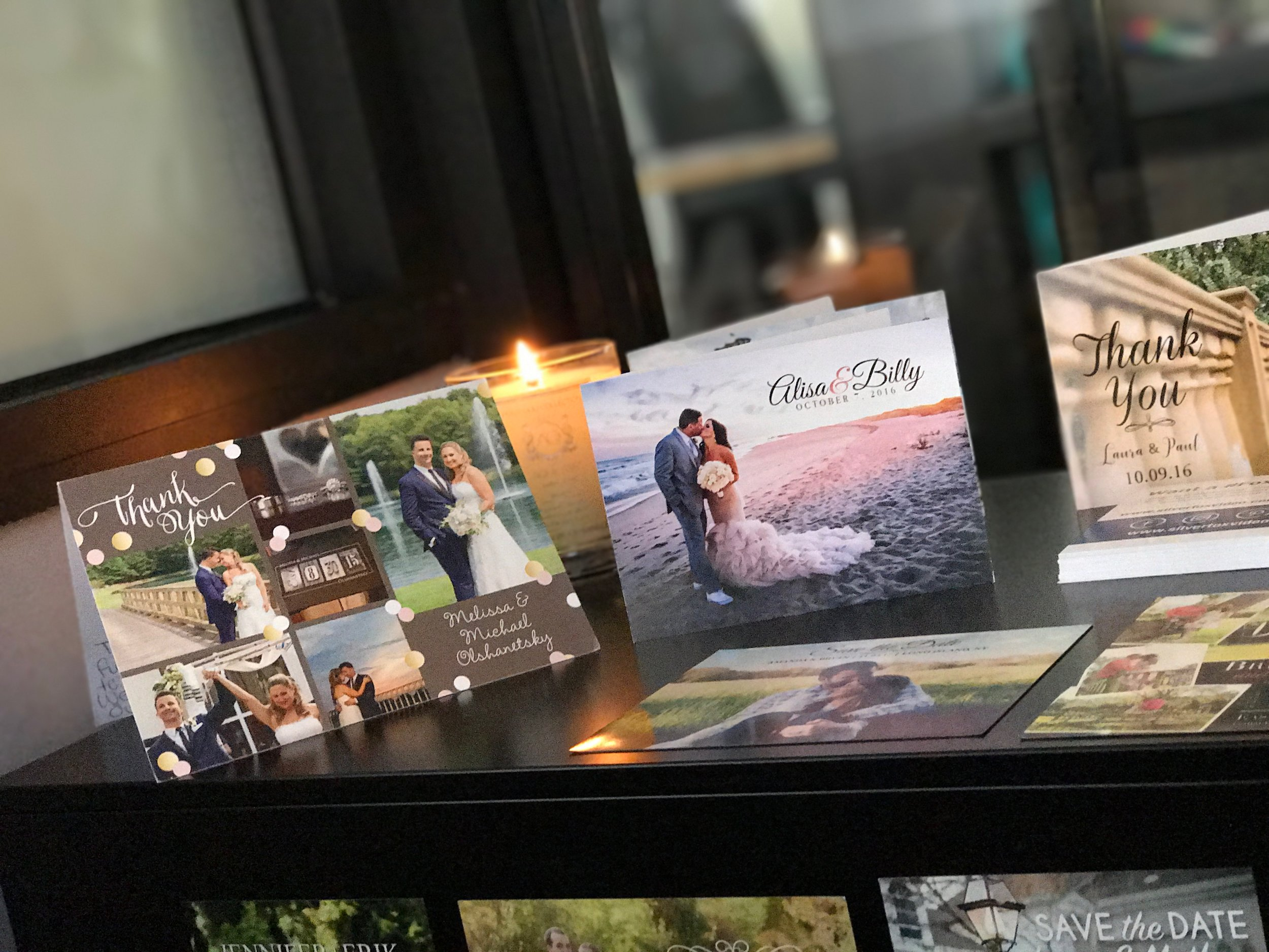 THANK YOU CARDS AND SAVE-THE-DATES - Beautifully designed cards printed on premium grade card stock and magnets. All custom created by our in-house design team.