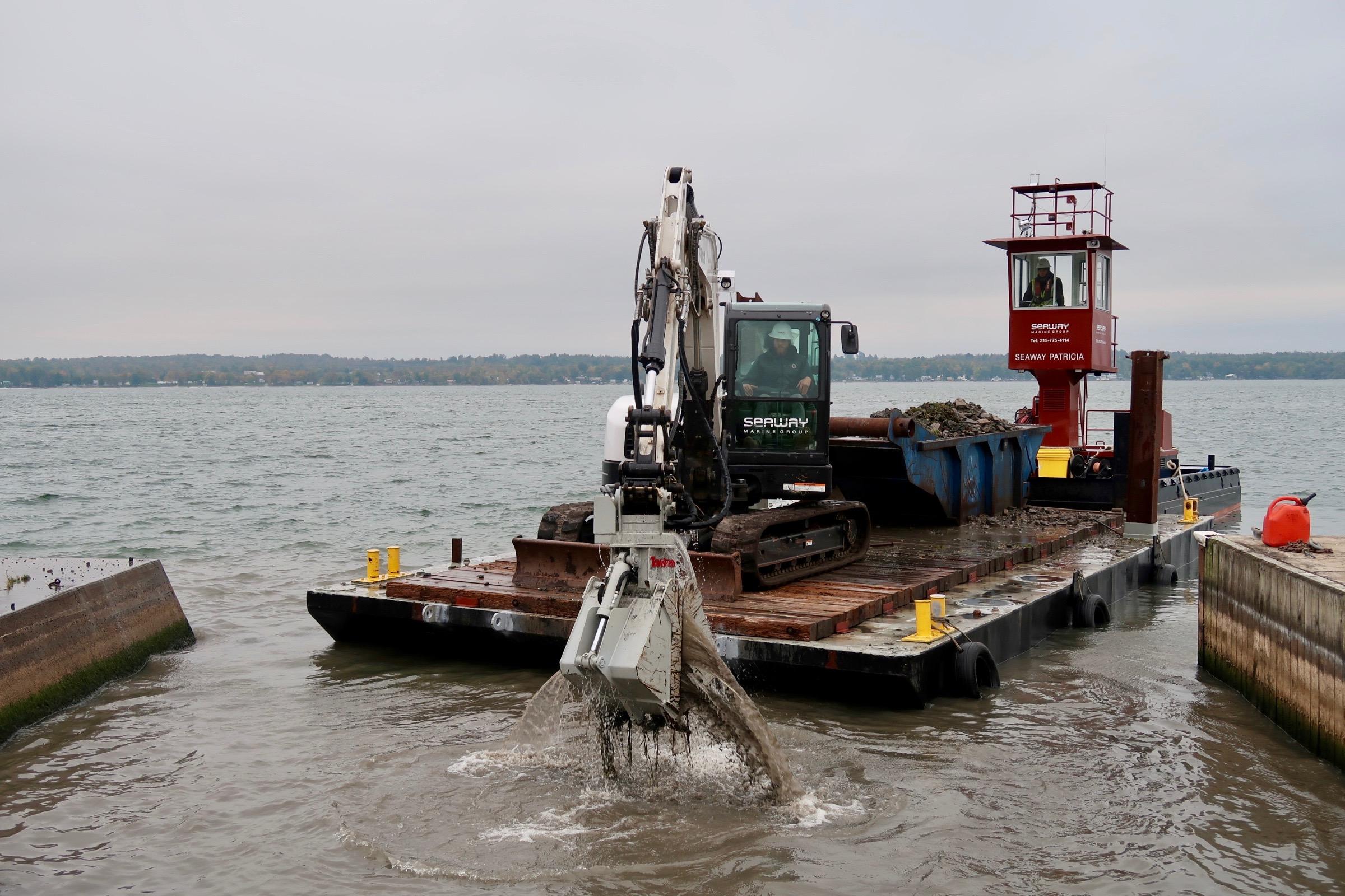 deck barge, spuds, New York, tug, Seaway Marine Group