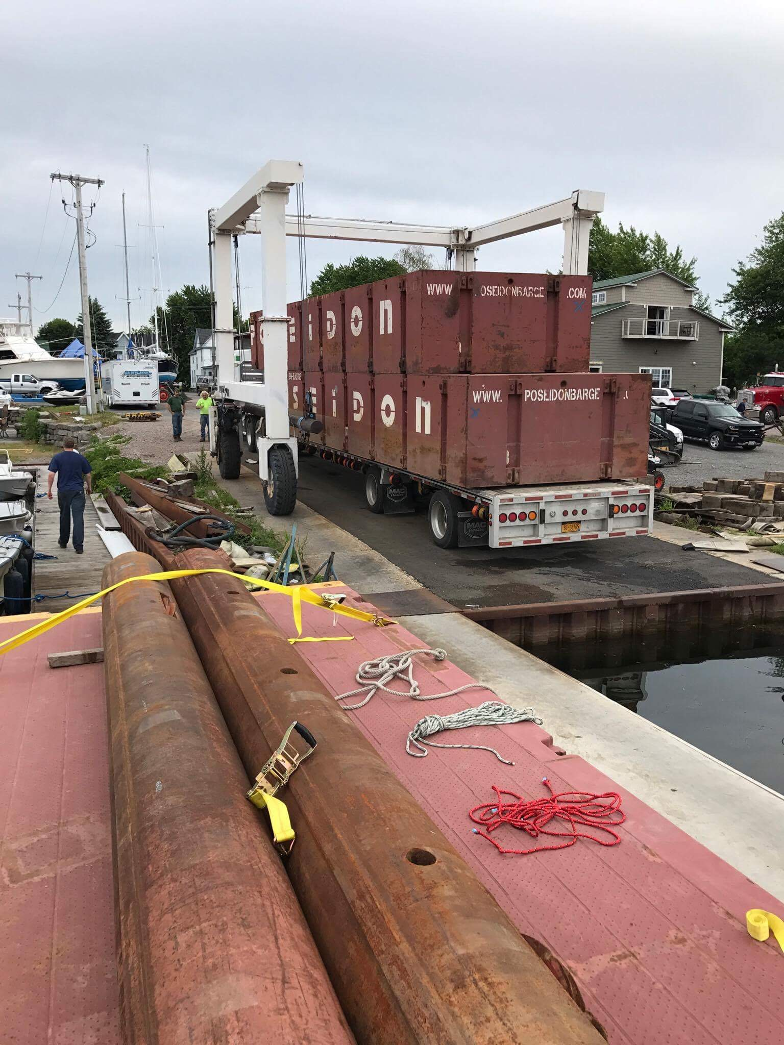 Poseidon sectional barges, New York, Seaway Marine Group, truckable