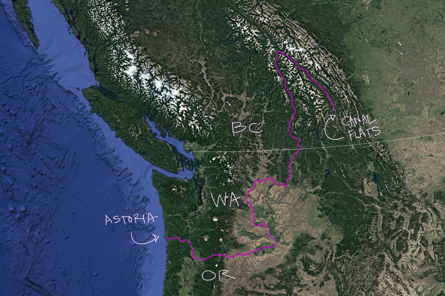 Satellite image of Pacific Northwest exported from Google Earth. Pink line follows the Columbia River