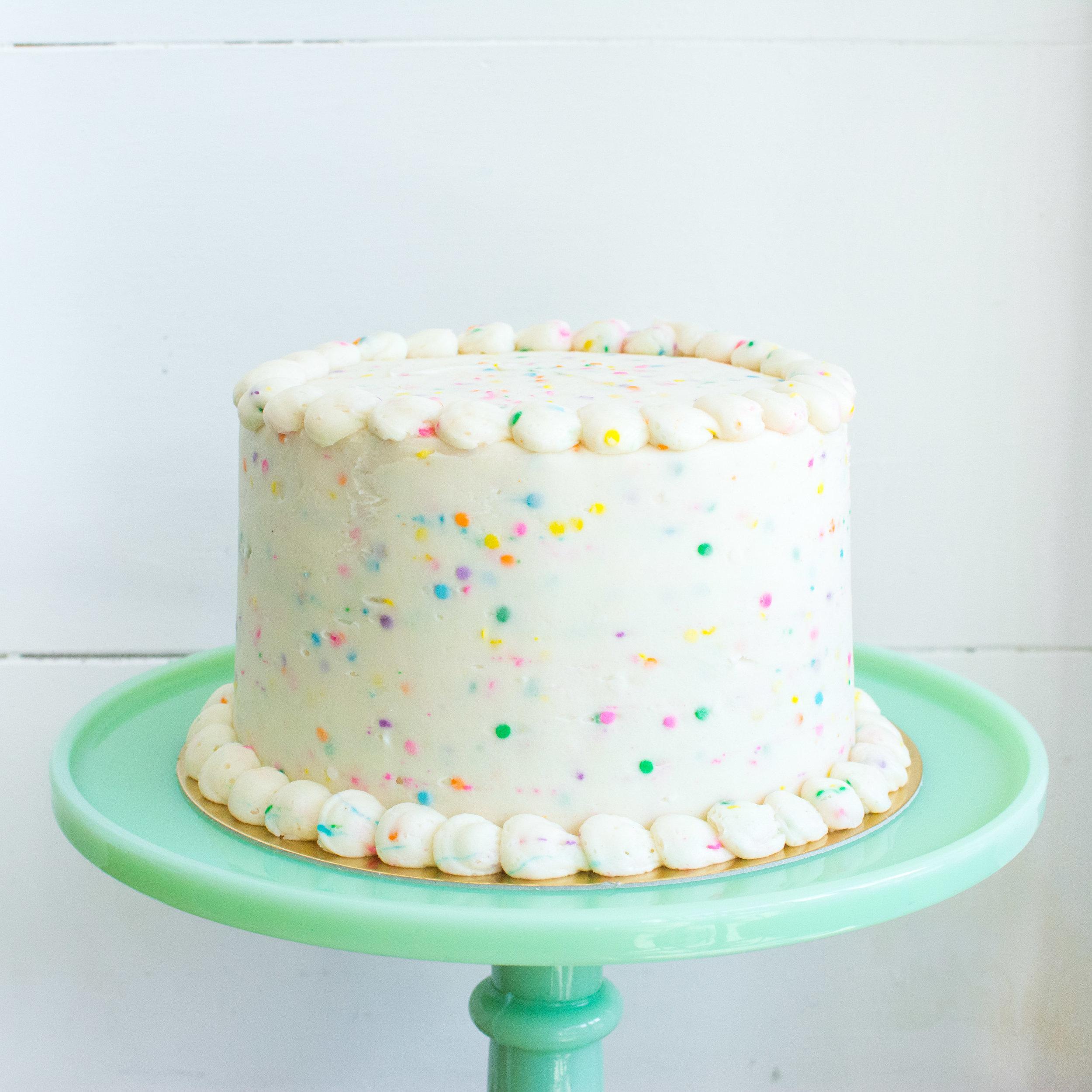 Vanilla Celebration Cake with Vanilla Buttercream and Rainbow Sprinkles