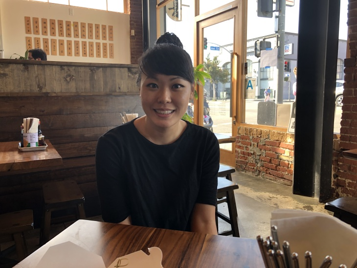 Vivian Ku is the chef and restauranteur behind Joy in Highland Park and Pine and Crane in Silver Lake. (Photo by Emily Henderson/ LAist)