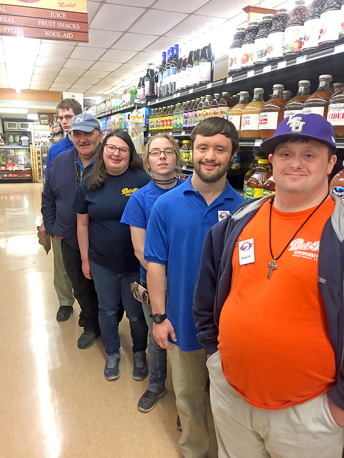 WILLING AND ABLE: Bet-R Neighborhood Market has in recent years been increasingly hiring people with disabilities, including, from front, David Mills, Stephen Wascom, Molly Boulden, Emily Dunlap, Charles Reed and Nathan Kirshner.  (Courtesy Cliff Boulden)