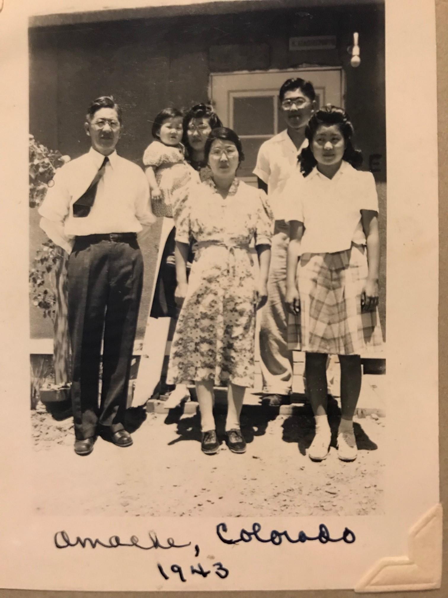 (My family (the Yahiro family) during internment at Amache, Colorado 1943. Photos Courtesy of Yahiro Family)