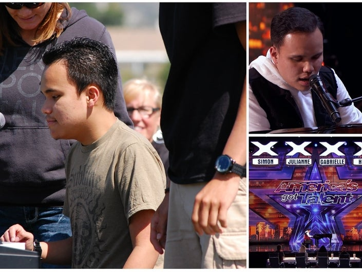 Kodi Lee plays at the 2012 Special Olympics in Lake Elsinore (left) and  on America's Got Talent (right two images). (LEUSD/AGT)