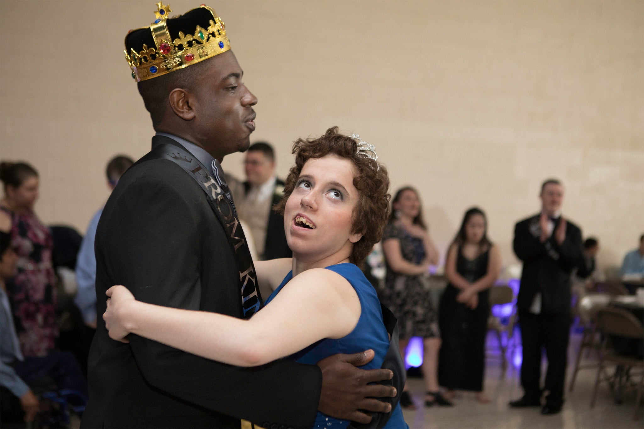 Lequan Williamson and Diana Monello, the prom king and queen.  Photograph by Allyse Pulliam