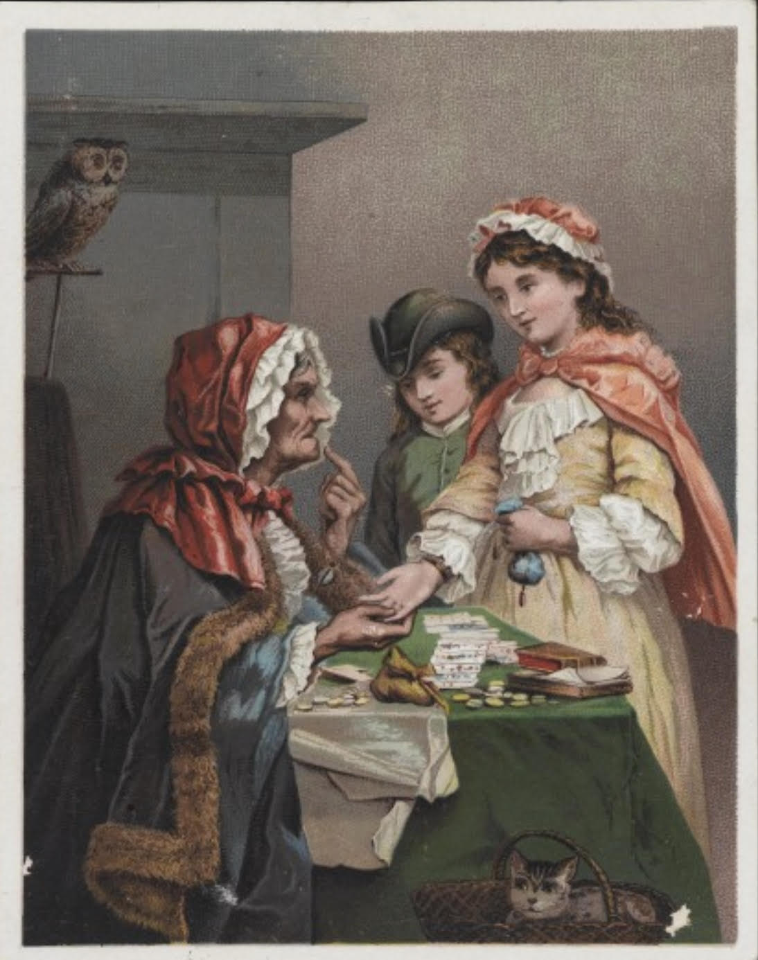 Photo: The Gypsy Fortune Teller. Color card depicting young girl having her palm read by a fortune teller.  Source: Wellcome Library