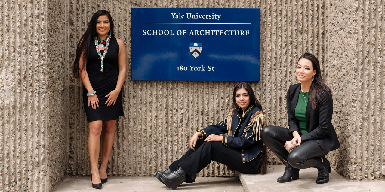 Charelle Brown, Anjelica Gallegos, and Summer Sutton on the Yale campus.  Photo: Michael A. Hernandez