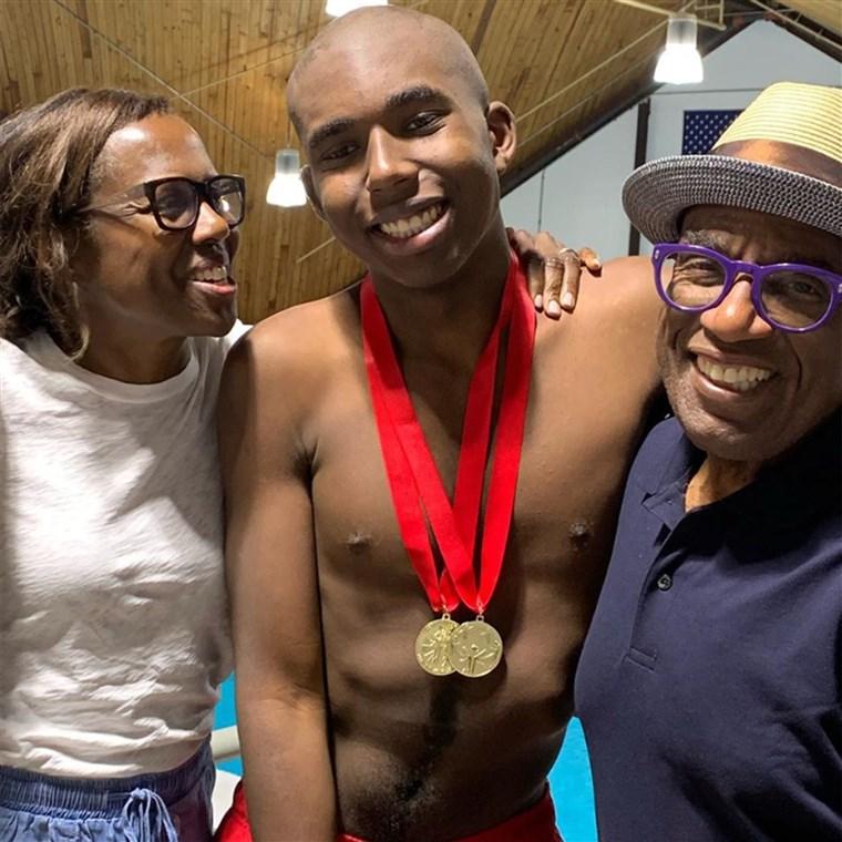 Deborah Roberts and Al Roker celebrated their son Nick's success at the New York Special Olympics swim meet Saturday.alroker/Instagram