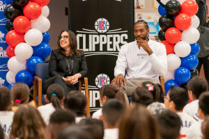 L.A. Clippers superstar Kawhi Leonard speaks to students at Cloverdale Elementary School on Aug. 20, 2019. (Credit: L.A. Clippers)