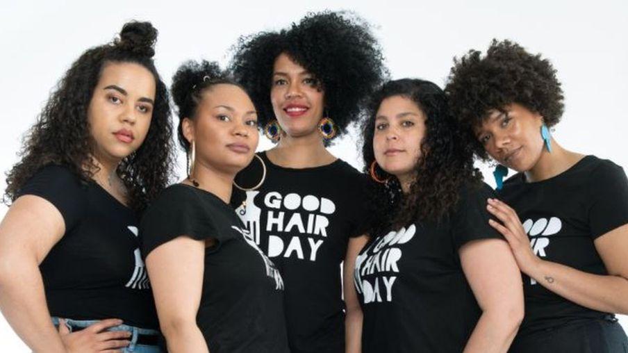 Pricilla Osei / Image caption The women behind the Good Hair Day: Paloma Sandberg (l), Vanessa Daniels, Michaela Moua, Saida Mäki-Penttilä and Akunna Onwen