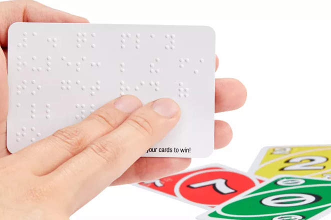 UNO Braille is a new version of the popular card game that's accessible to the visually impaired. Mattel