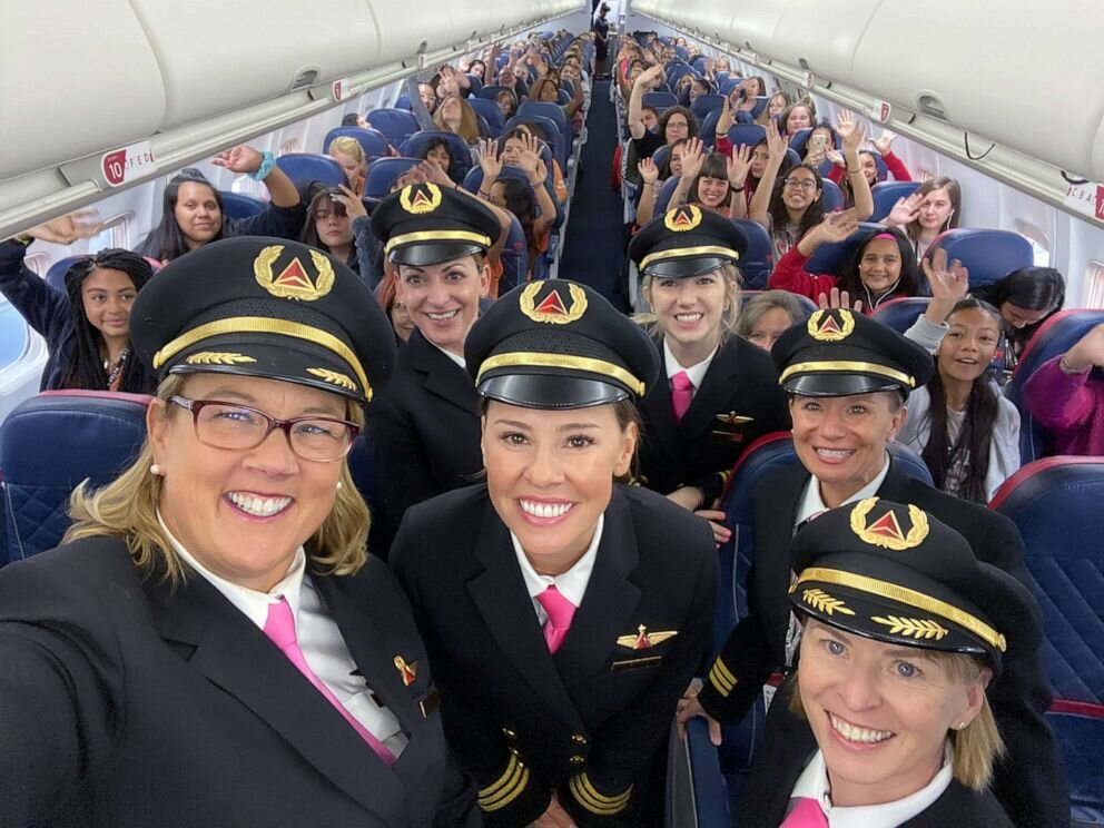 """Delta celebrated International Girls in Aviation Day with its fifth-annual """"WING Flight,"""" carrying 120 girls from Salt Lake City to NASA in Houston, Oct. 6, 2019."""