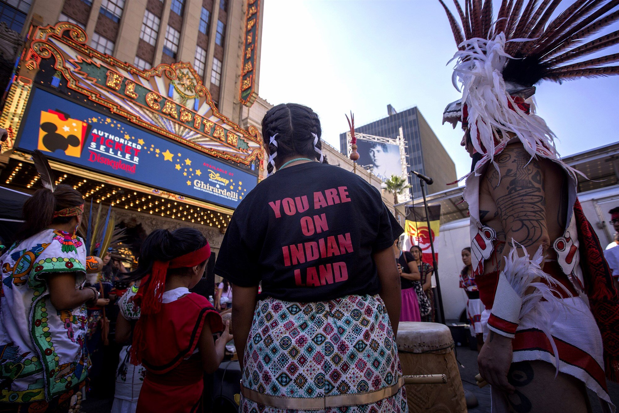 Dancers from the Anahuacalmecac International University Preparatory pray before an Indigenous People's Day Celebration in Hollywood on Oct. 8, 2017.David McNew / Getty Images file