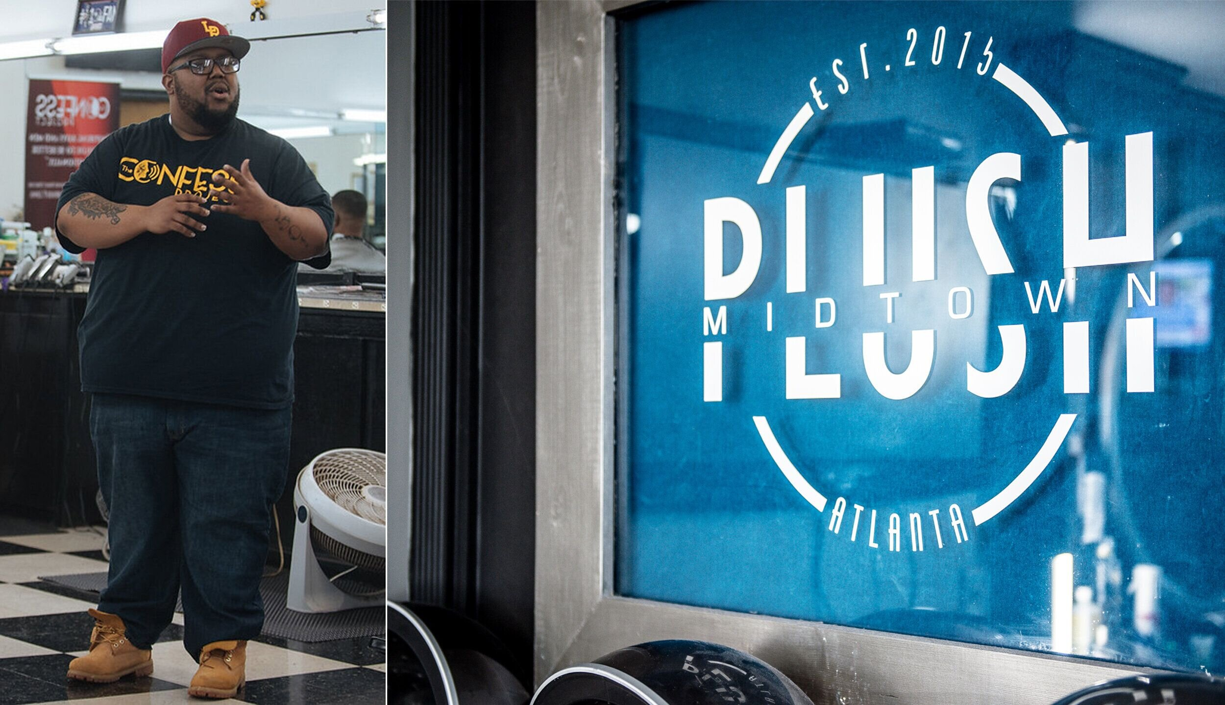 Left: Lorenzo Lewis of The Confess Project gives a presentation at a barbershop in Irmo, South Carolina. Right: The interior of Plush Midtown. Santanna Photography / Marcus Ingram for HuffPost