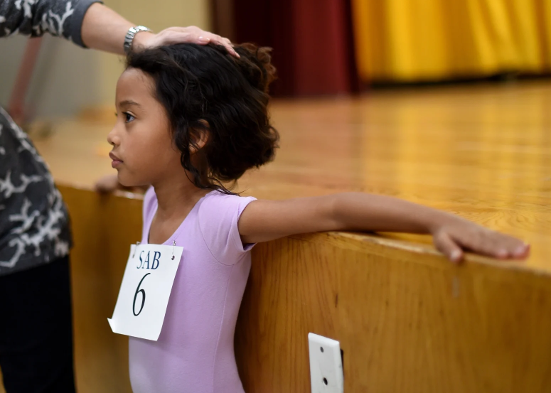 POISED: Charlotte Nebres auditioning in 2015.  Photo: Timothy A. Clary (Getty Images)