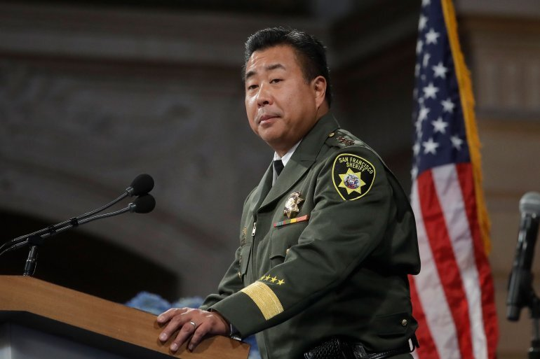 San Francisco Sheriff Paul Miyamoto speaks at his swearing in ceremomy  at City Hall in San Francisco, on Jan. 8, 2020. (Credit: AP Photo/Jeff  Chiu via CNN)