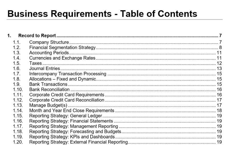 Table of Contents of Business Requirements