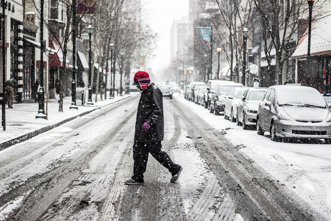 A snowy crossing