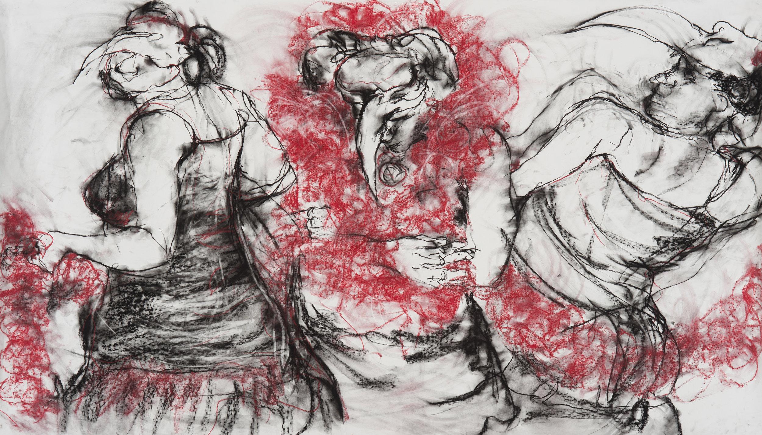 """Danza de los Muertos"" charcoal and pastel on paper, 42"" x 74"""