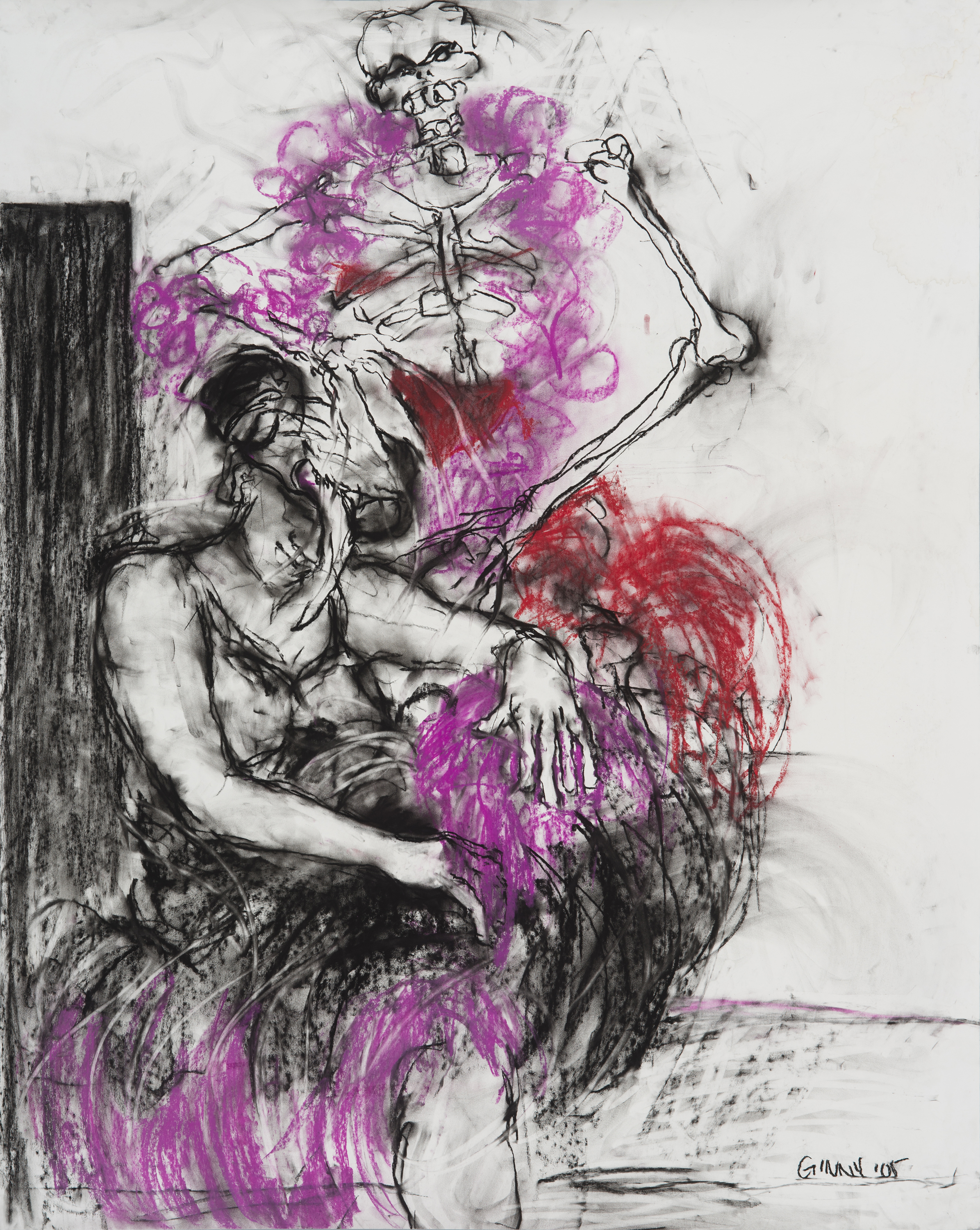 """""""Ángel Durmiente"""" charcoal and pastel on paper, 53"""" x 42"""""""