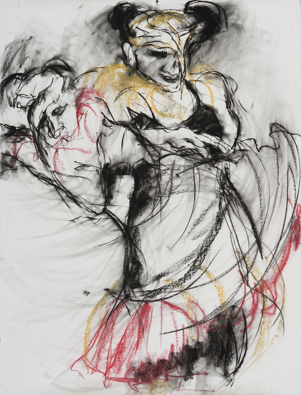 """Dueto de los Muertos"" charcoal and pastel on paper, 55"" x 42"""