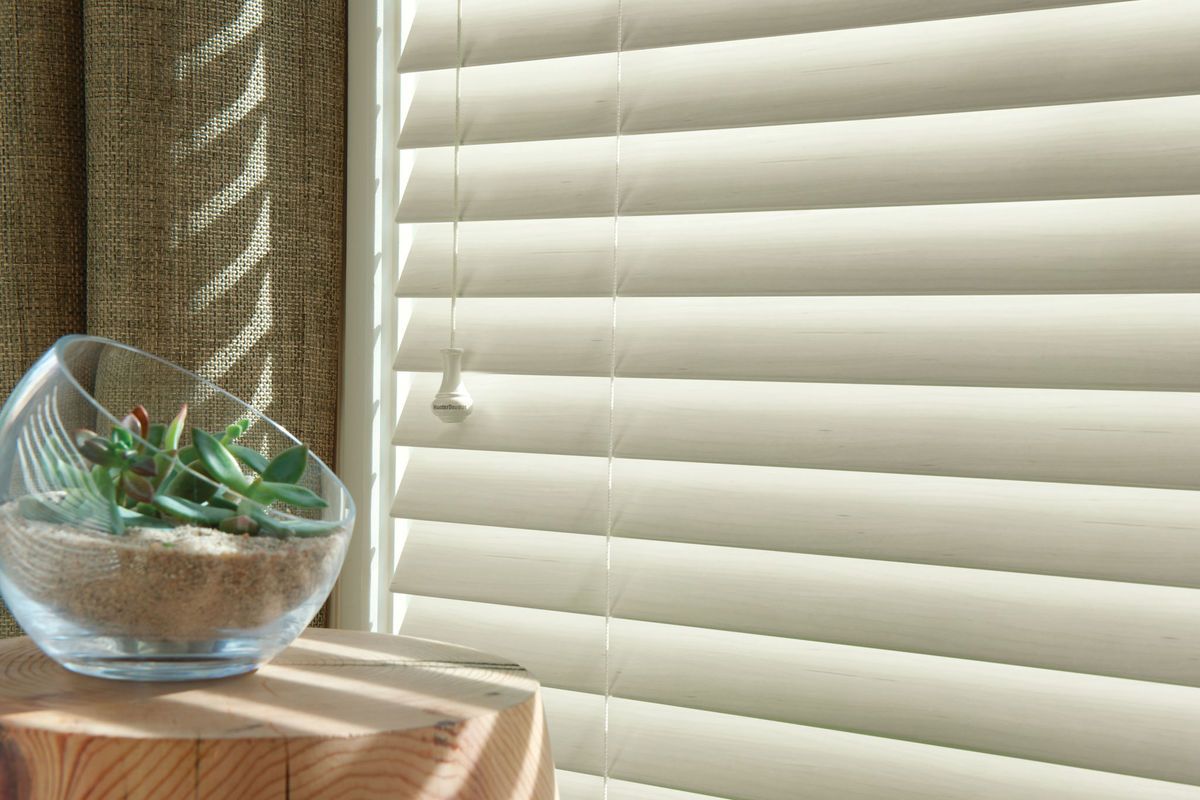 In photo:  everwood alternative wood blinds