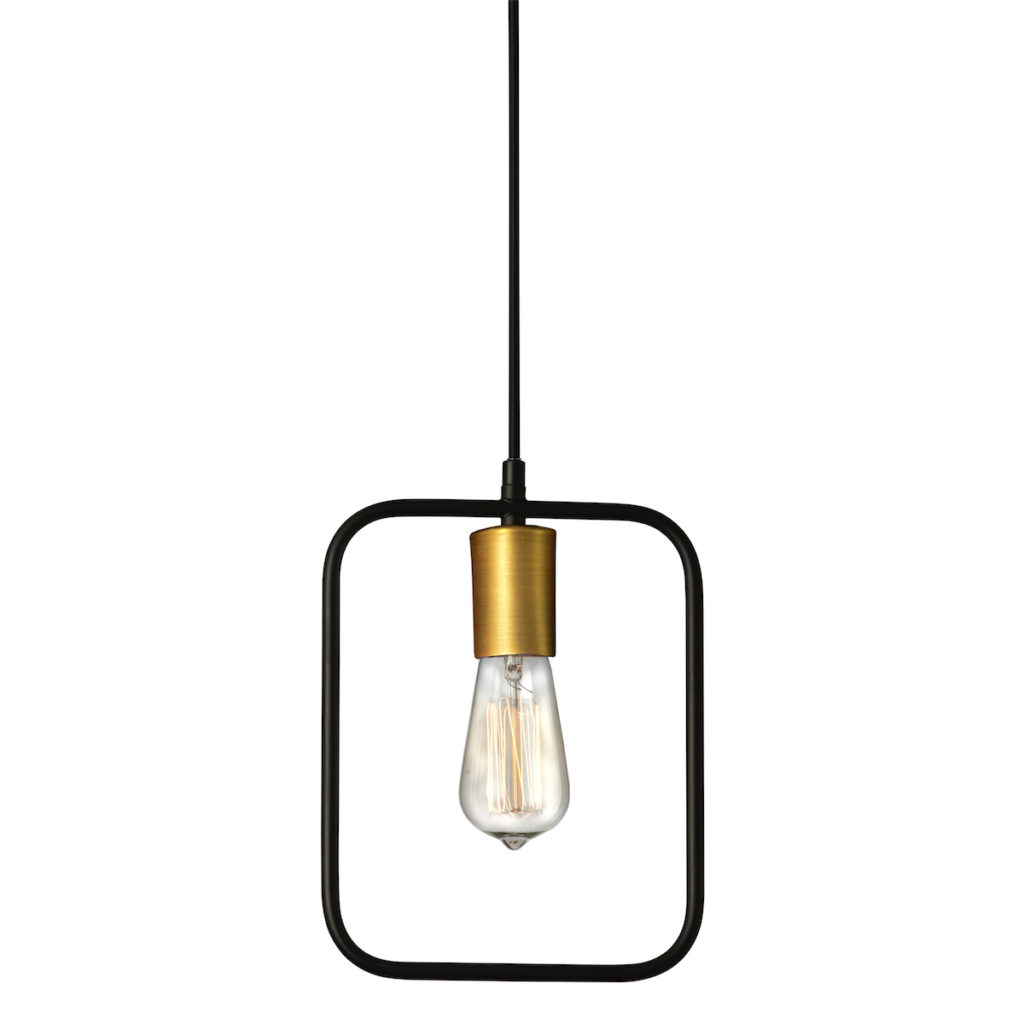 Square Pendant Light - Colour: Black / Gold MetalDimensions: 12.75