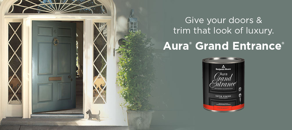 Aura Grand Entrance - Aura Grand Entrance brings rich, vivid color and exceptional durability to your interior/exterior doors and trim.Available in thousands of colours.Available in Satin and High Gloss finishes.Available in quart size.Price: $57.99 + HST