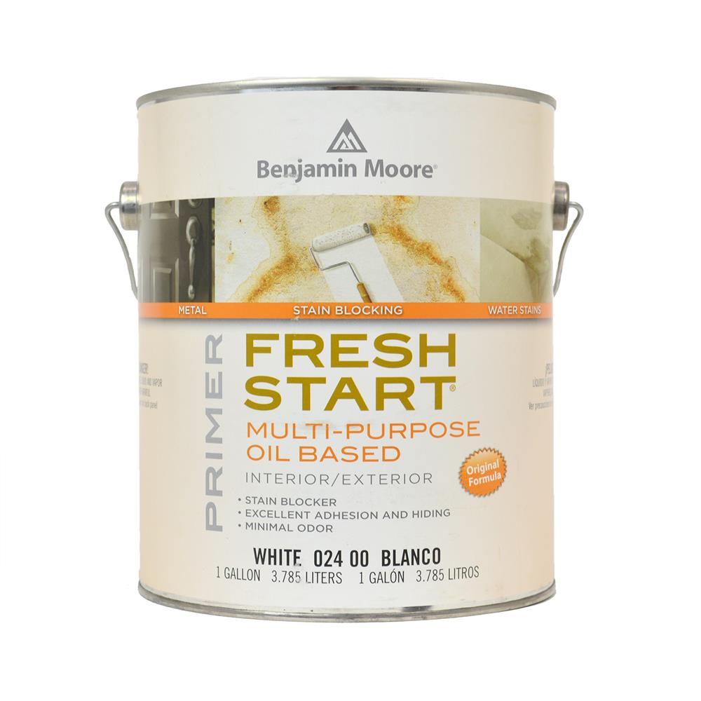 Fresh Start Oil Based Interior / Exterior Primer - A premium quality alkyd primer is a universal favorite when a quality under coater, sealer and stain blocking primer is needed. It can be used over oil or latex paint and performs equally well under all Benjamin Moore architectural finish coats.Available in quart or gallon sizes.Quart Price: $29.99 + HSTGallon Price: $68.99 + HST