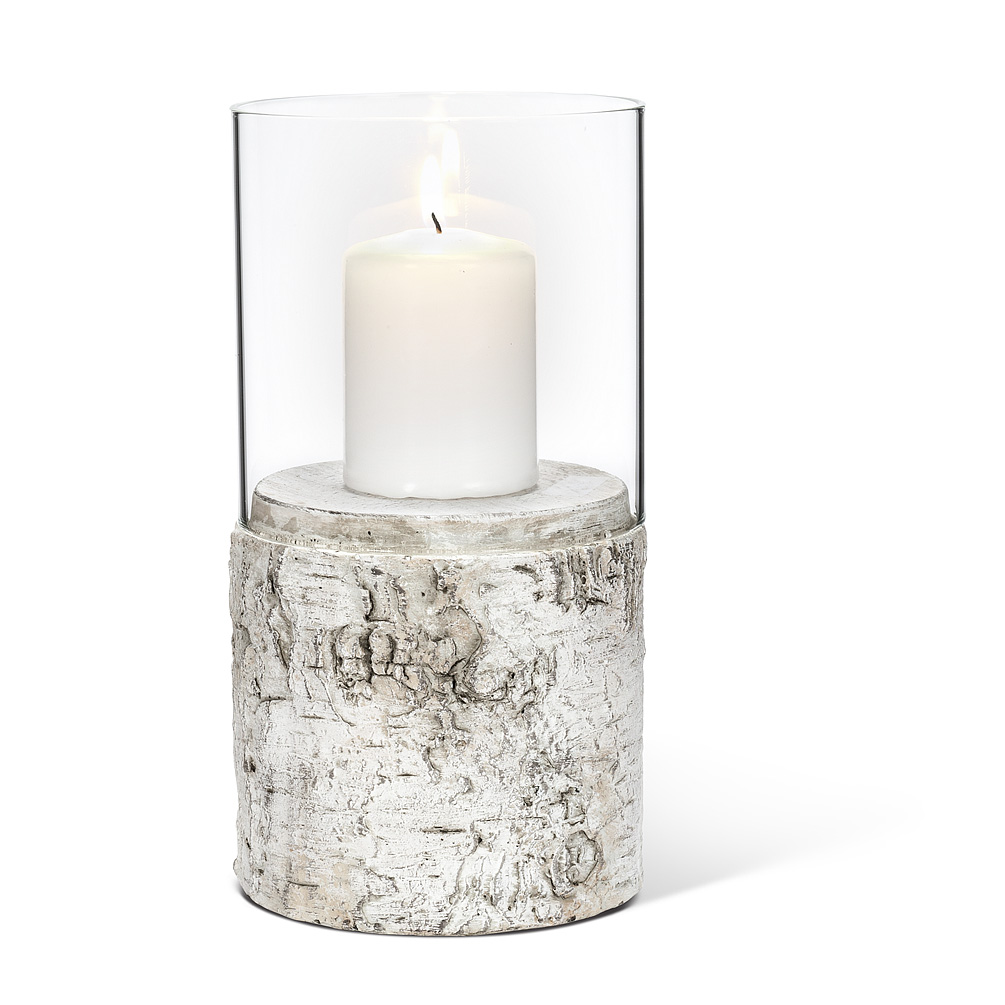 Birch Look Hurricane Candle Holder - Intricately textured and coloured this hurricane will add rustic charm to your home garden and display. As part of our BARK collection these cement items are cast and finished to appear like natural birch bark.Dimensions: 4.5
