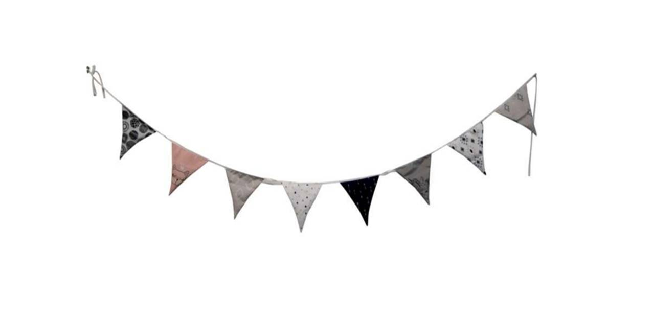 Patterned Hanging Pennants - Colour: Pink / Dark Blue / White / Black / GrayDimensions: 8' LongPrice: $14.00 + HST