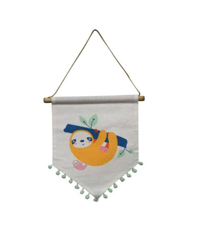 "Sloth w/ Poms Hanging Pennant - Colour:  Assorted Dimensions:  11"" Wide x 12"" High + StringPrice:  $14.00 + HST"