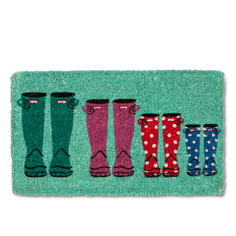 Rubber Boots Doormat - This rubber boot doormat is a fun and cheeky way to show your houseguests where to wipe theirs. Made of durable coir fibre, this sunny turquoise doormat features a complete family of colourful rubber boots — a bright way to welcome anyone to your door, in any weather.Regular Price: $35.00 + HSTSale Price: $28.00 + HST