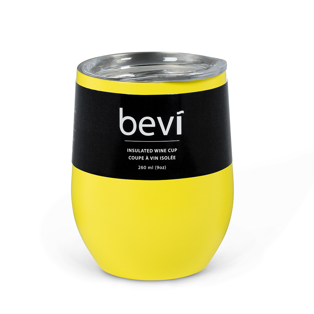 """Insulated Wine Tumbler - Keep your favourite beverage the perfect temperature for up to 9 hours (3 hrs. for hot drinks; 9 hrs. for cold) with the stylishly understated """"bevi"""" insulated wine cup in a matte yellow finish. Double-walled and vacuum-sealed, every cup is made of food-grade stainless steel and features a BPA free push-seal lid to keep cold or heat in and bugs out during the summer. Tip resistant and shatterproof.Regular Price: $18.00 + HSTSale Price: $16.20 + HST"""