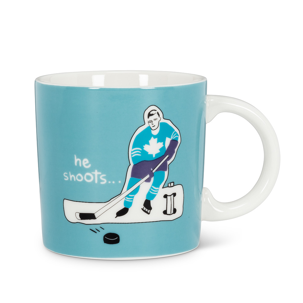 Graphic Mug-He Shoots - With many different styles from Canadian designer Wendy Tancock you are spoilt for choice to pick the one that tickles you the most. Our generous porcelain mugs show off Wendy's award winning graphic designs.Regular Price: $12.00 + HSTSale Price: $9.60 + HST