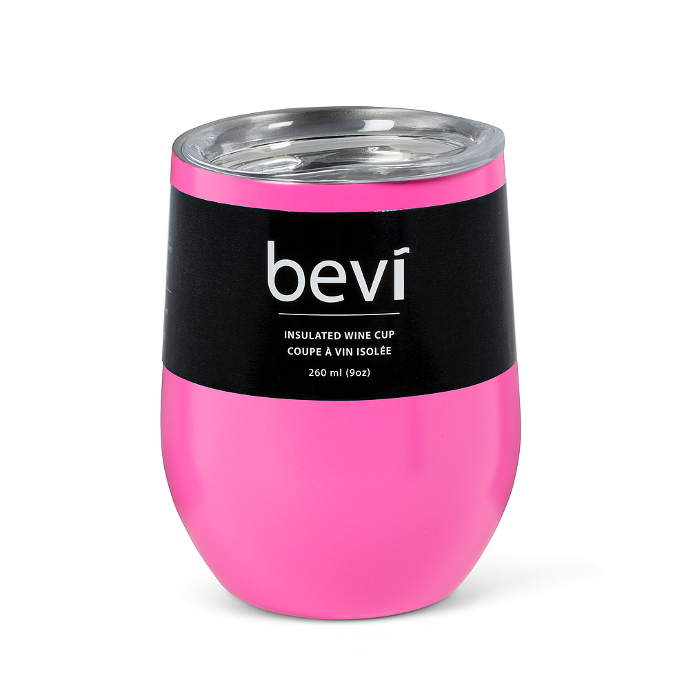 """Insulated Wine Tumbler - Keep your favourite beverage the perfect temperature for up to 9 hours (3 hrs. for hot drinks; 9 hrs. for cold) with the stylishly understated """"bevi"""" insulated wine cup in a matte pink finish. Double-walled and vacuum-sealed, every cup is made of food-grade stainless steel and features a BPA free push-seal lid to keep cold or heat in and bugs out during the summer. Tip resistant and shatterproof.Regular Price: $18.00 + HSTSale Price: $16.20 + HST"""