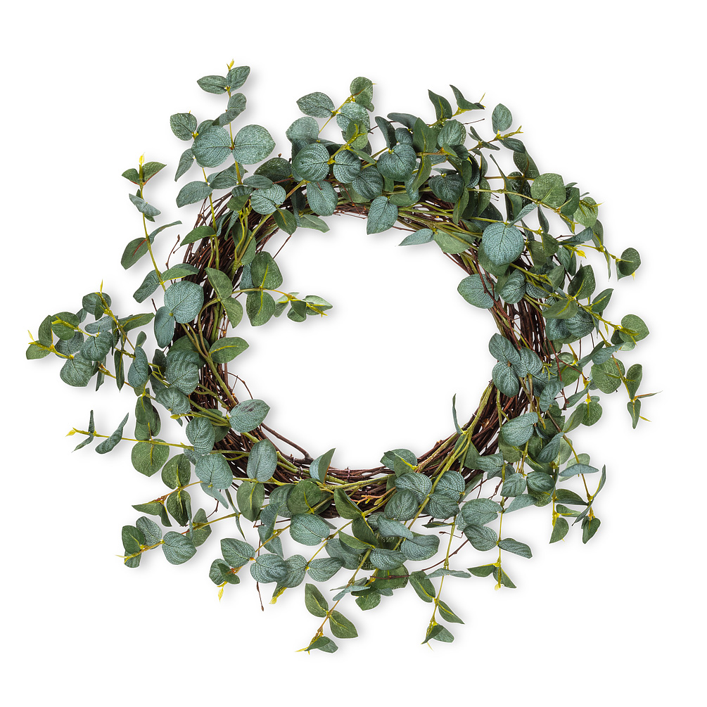 """Eucalyptus Wreath - Welcome spring — and houseguests — to your home in style with this verdant Eucalyptus wreath. Made of natural twig and polyester, this realistic-looking wreath works wonderfully for any home, no matter what your style of decor.Diameter: 15""""Regular Price: $59.99 + HSTSale Price: $47.99 + HST"""