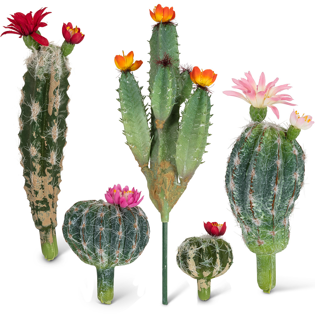 Flowering Cactus Picks - Cacti are the latest on-trend plant in the world of décor - these flowering cactus picks provide all of the decorative beauty without any of the mess or maintenance. Arrange them in sand, soil or gravel for an attractive southwestern-style center piece or add them to other planters as an accent piece.Regular Price: $7.00 + HST (each)Sale Price: $5.60 + HST (each)