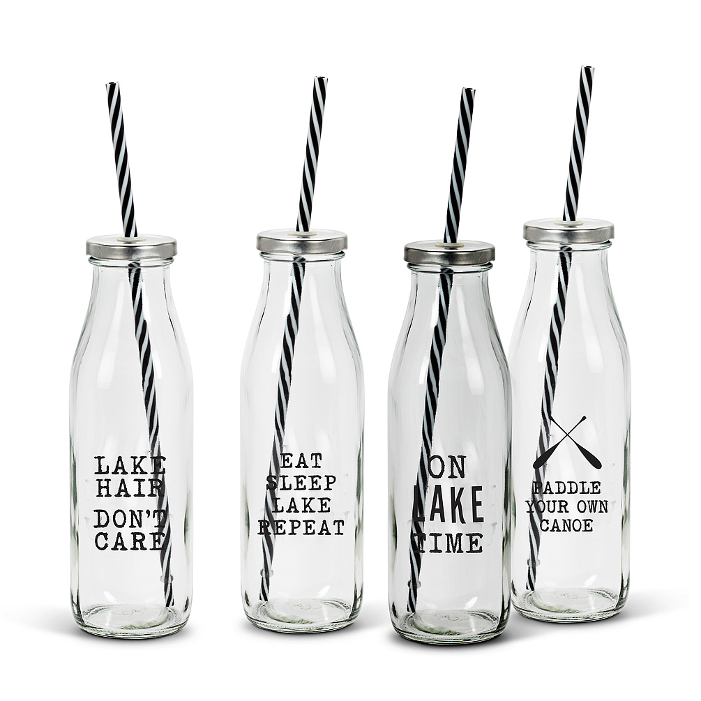 Lake Bottles with Straw-Set of 4 - Everyone in the gang can enjoy their favourite drink without spilling a drop with this set of 4 bottles with straws. Part of the Cottage Life collection, this set of sturdy glass bottles with lids features funny lake-related truisms along with durable, reusable dishwasher-safe plastic straws for smooth sipping anywhere in the great outdoors.Regular Price: $16.00 + HSTSale Price: $12.80 + HST