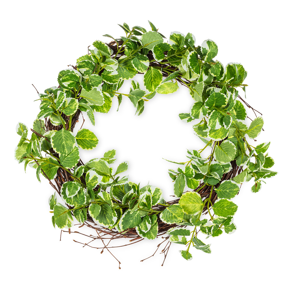 Varigated Greenery Wreath - Welcome spring — and houseguests — to your home in style with this vibrant variegated greenery wreath. Made of natural twig and polyester, this realistic-looking wreath works wonderfully for any home — bringing a touch of brightness and verdant greenery to your door.Regular Price: $64.99 + HSTSale Price: $51.99 + HST