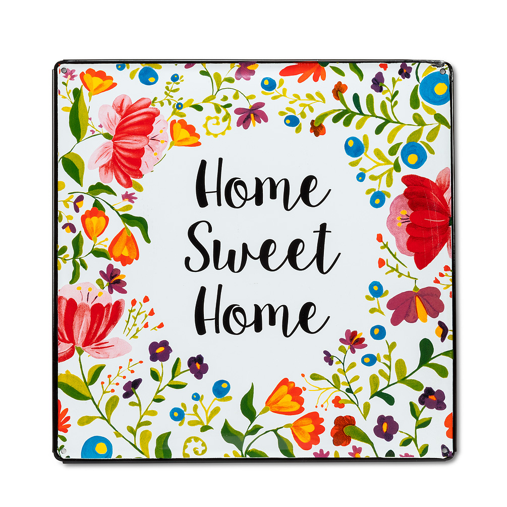 """Home Sweet Home Sign - This stylish """"Home Sweet Home"""" sign puts a bright and colourful twist on this age-old saying. Crafted out of metal and decorated with a vivid array of flowers surrounding the hand-written """"Home Sweet Home"""", this sign makes a great house-warming gift for new and old homeowners alike.Regular Price:  $39.99 + HST Sale Price:  $31.99 + HST"""