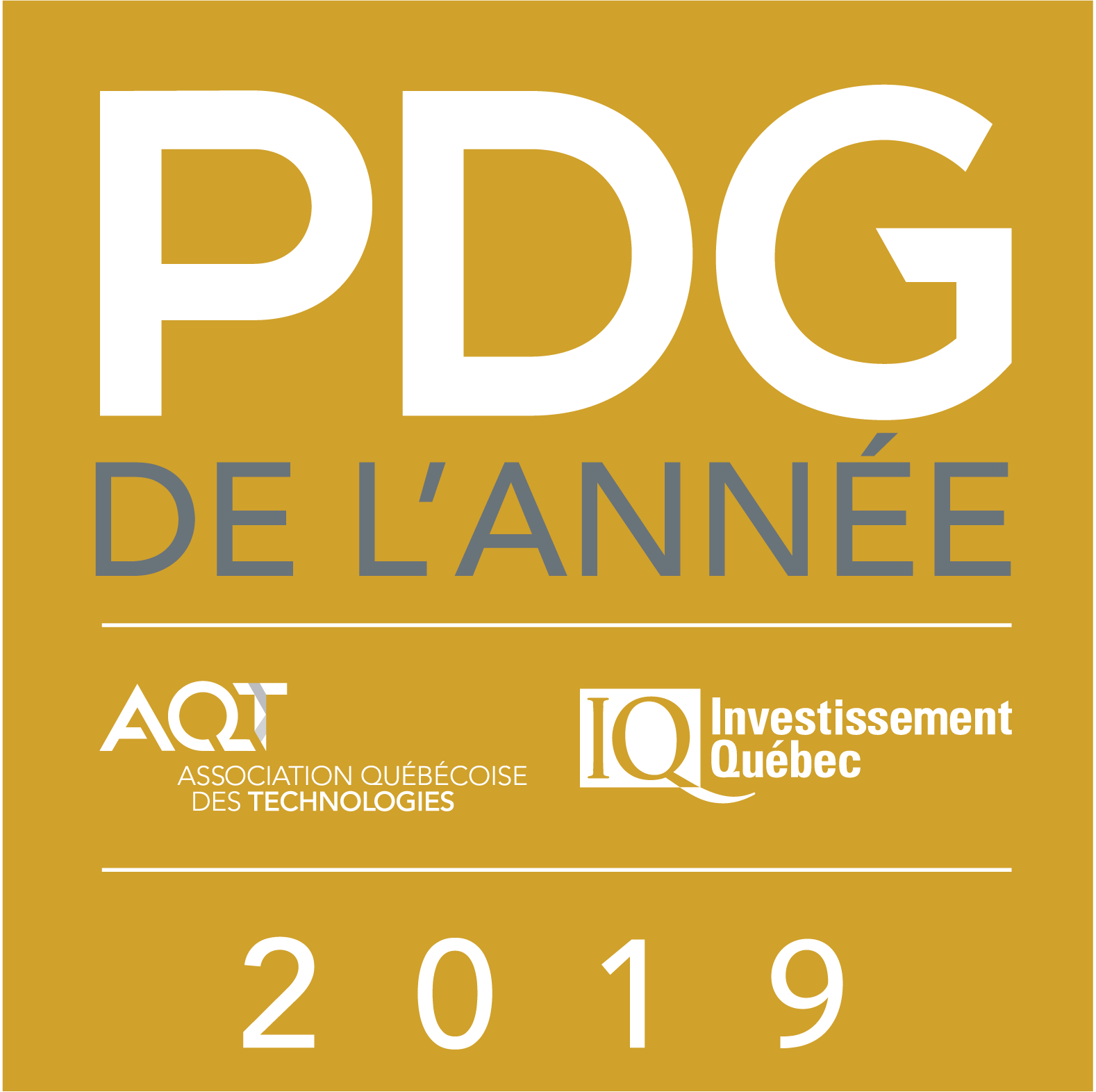 Winner  - AQT-Investissement Québec CEO of the Year Award 2019