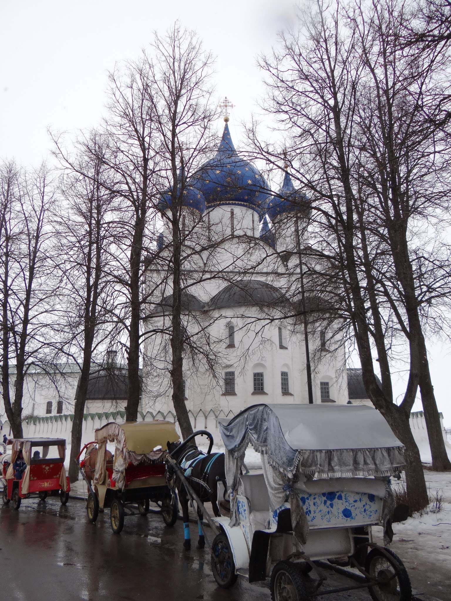 """A way to move around Suzdal are these traditional Russian carriages called """"troikas"""" because they have three wheels. Charming or tourist trap? your call, but I must say they look good in their setting…"""