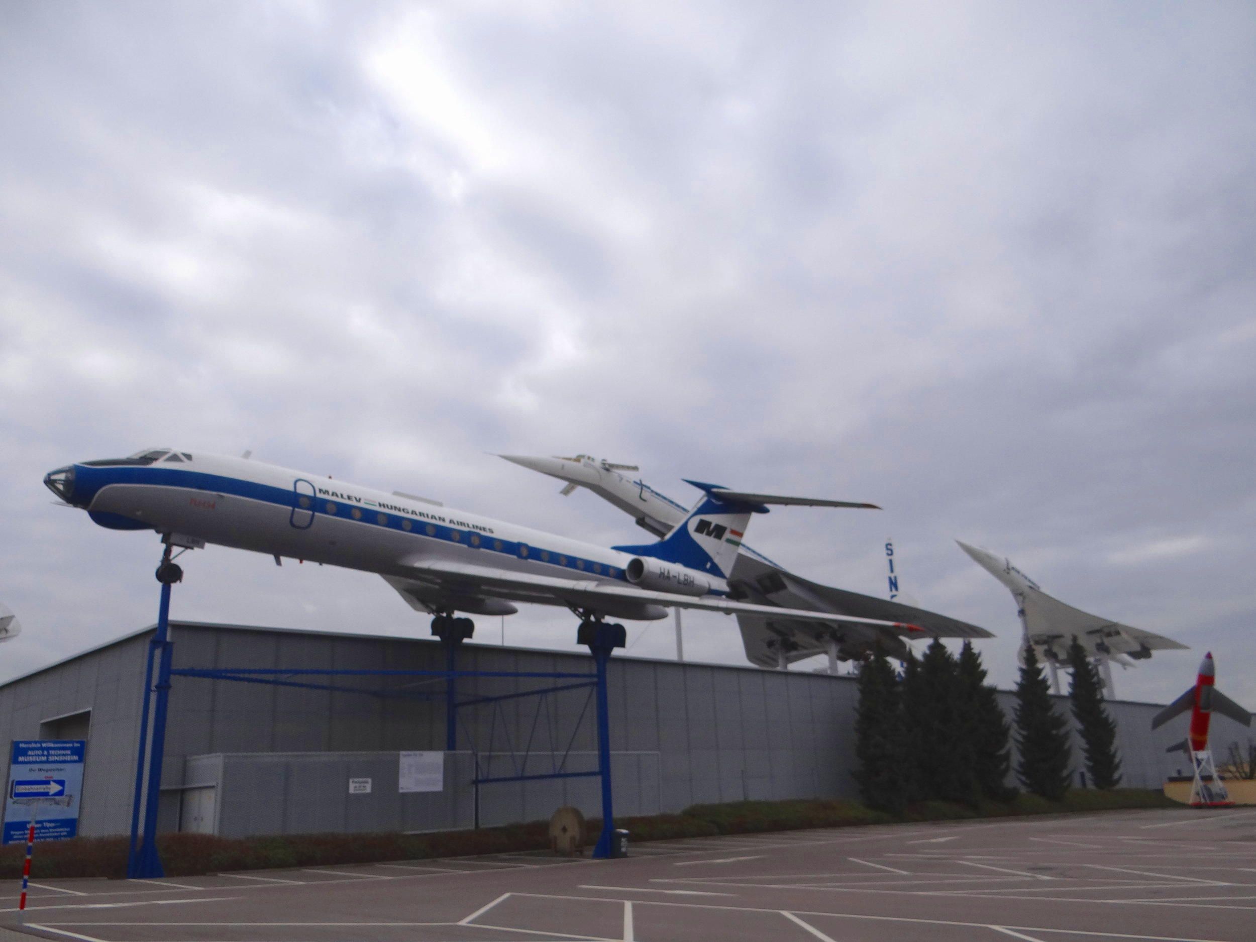 """A Tupolev Tu-104, the first viable jet airliner in the World, a Tu-144, the """"Concordsky"""" and the Concorde, all in one row"""
