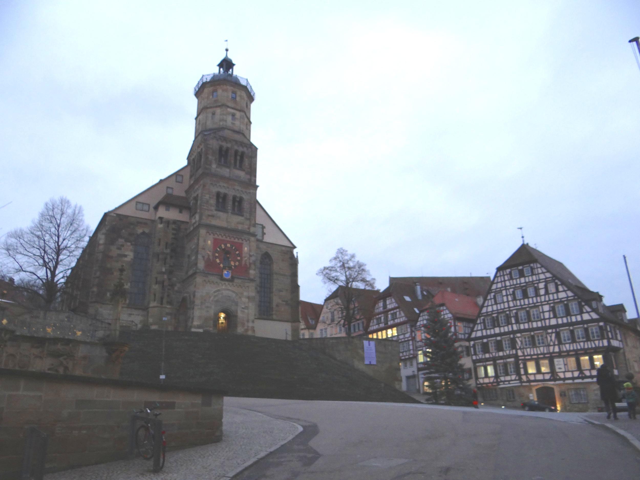 Schwabisch Hall Marktplatz and Saint Michael church in the evening hours