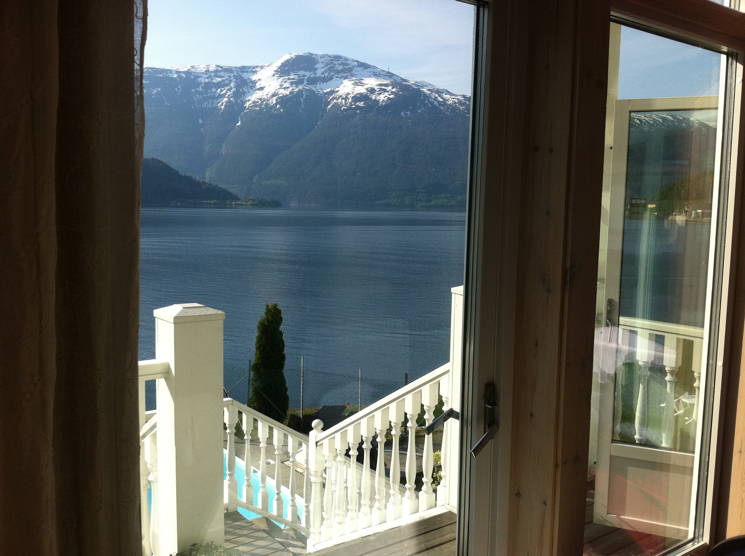 The view of the fjord from the Hofslund Hotel