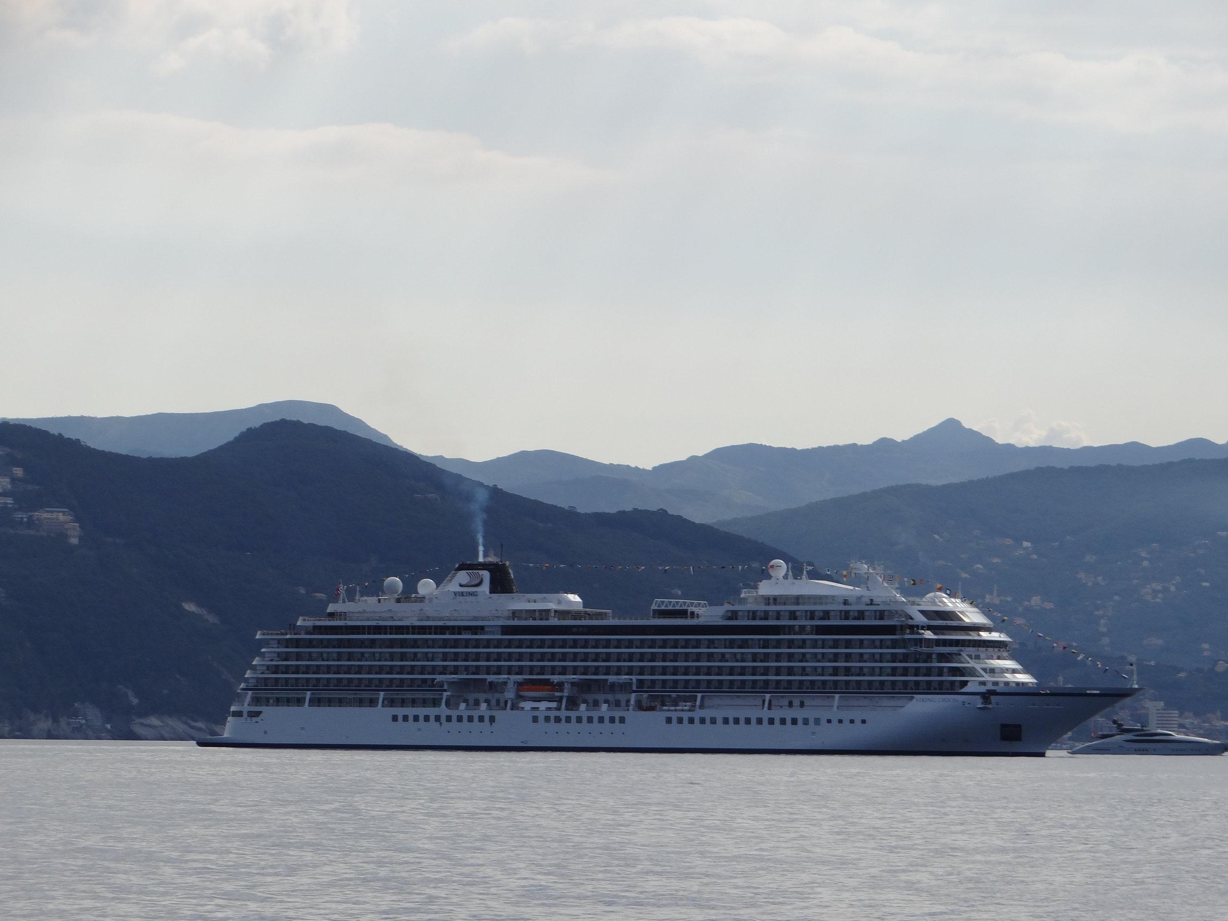 The Viking Orion, anchored off Portofino, Italy