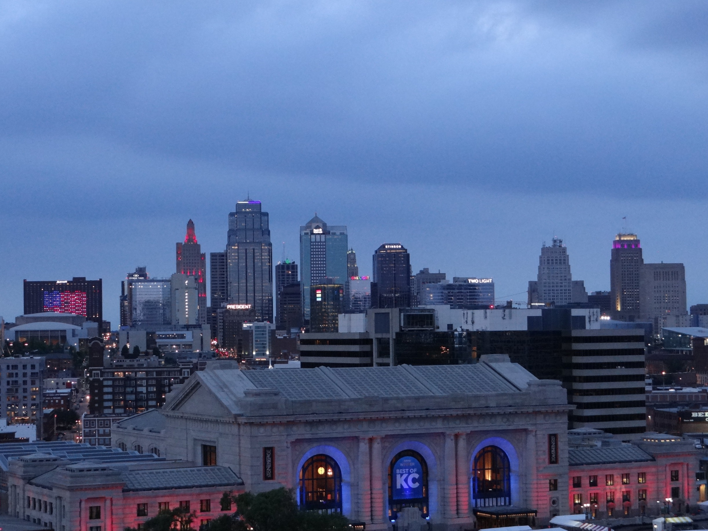 Downtown Kansas City at dusk, seen from the National WW1 Museum and Memorial