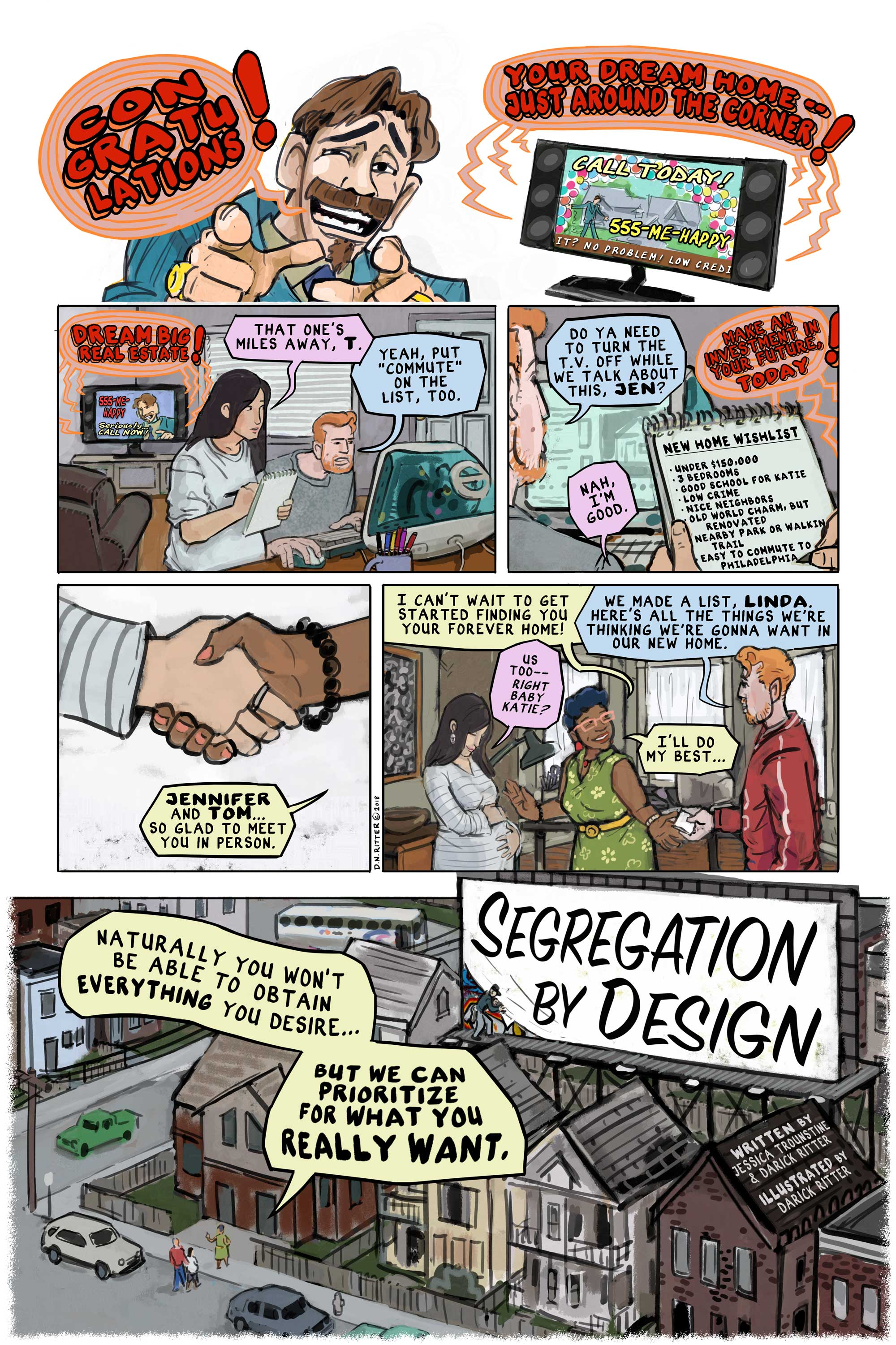 Segregation by Design (page 1)   by Darick Ritter and  Jessica Trounstine . 8-page comic prologue to academic book entitled  Segregation by Design  by Jessica Trounstine (purchase  here ).